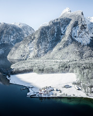 St Bartholomä (Fabian Fortmann) Tags: bayern bavarion germany deutschland bartholomä königssee dji mavic winter snow ice schnee church blue sky