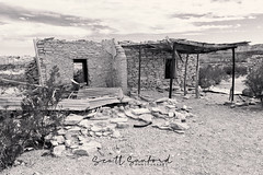 Shade of the Front Porch (Scott Sanford Photography) Tags: old abandoned historic ghosttown texas bigbend terlingua sky clouds colors desert rusty canon eos ef2470mmf28lusm 6d travel trip roadtrip vacation springbreak weathered blackandwhite bw monochrome