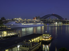 Carnival Legend into Sydney - see below (Time Off Photography) Tags: carnivalcruiseline circularquay cruiseship lunapark mscarnivallegend nightphoto sydneyharbourbridge olympus paulleader ship boat vessel harbour ferry cruise holiday tourist passenger transportation sydney nsw newsouthwales australia reflection
