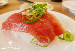 Bonito sushi in Yokohama (Ola 竜) Tags: sushi food bonito fish rice greenonion plate restaurant sushibar yokohama japan