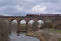 LMS Crab Locomotive No.13065 crossing Roch Viaduct with the 11.50 service from Heywood to Rawtenstall, approaching Bury Bolton Street. East Lancs Railway 30 03 2018 (pnb511) Tags: eastlancsrailway bridge viaduct river trees roch sky steam engine loco locomotive train 260 mogul