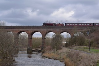 LMS Crab Locomotive No.13065 crossing Roch Viaduct with the 11.50 service from Heywood to Rawtenstall, approaching Bury Bolton Street. East Lancs Railway 30 03 2018