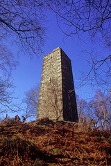 reform tower (Ron Layters) Tags: earlgreytower reformtower stantonmoor trees bracken landscape framing moor gritstone tower bluesky peakdistrict birchover derbyshire england unitedkingdom slidefilmthenscanned slide transparency fujichrome velvia canoneos300v canon eos300v rebelti ronlayters
