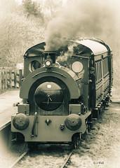 Dunlop No 6 April 2018 (walljim52) Tags: steamtrain locomotive train mono black white steam railway chasewater heritage smoke carriage