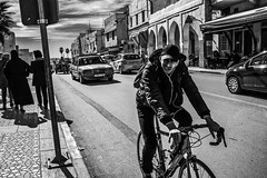 The traffic (aliwton) Tags: ifttt 500px street pavement sidewalk city pedestrian taxi bike ride sign mercedes old vintage black white monochrome leica man women morocco meknes africa travel