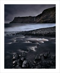 Talisker Bay III (Nigel Morton) Tags: skye isleofskye scotland landscape seascape taliskerbay rocks beach tide dark longexposure estuary cliffs waterfall nigelmorton diagonal lines near far waves weather hike outdoors