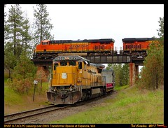 EWG over-under on Deep Creek Hill (funnelfan) Tags: train railroad railway shortline locomotive pnw pacificnorthwest eastern washington gateway ewg cw centralwashington bridge overpass bnsf transformer overunder