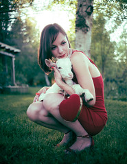 Hold my head, we'll trampoline (Džesika Devic) Tags: pixies lyrics goat summer editorial girl portrait red reddress backyard bokeh sunset leicamtyp240 leica summicron35mm