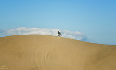 Surfista sobre un   mar de arena... (Leo ☮) Tags: duna arena sand dune cielo sky nube cloud color light luz surf maspalomas playadelinglés grancanaria islascanarias