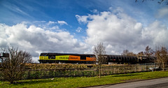 Tug shot broadside (Peter Leigh50) Tags: colas class 60 tug tanks train railway railroad road rail sky clouds mirrlees birmingham bordesley