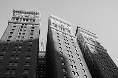 Up (marktmcn) Tags: building sixth avenue broadway junction new york city mast empire state skyscrapers tall buildings nyc blackandwhite monochrome d610 herald square windows