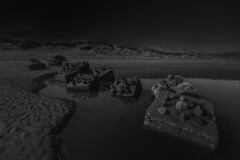 """like spiny turtles sea defence blocks clamber out of the still water and onto the sand, fine art black & white, Newburgh beach, Aberdeenshire, Scotland (grumpybaldprof) Tags: canon 7d """"canon7d"""" sigma 1020 1020mm f456 """"sigma1020mmf456dchsm"""" """"wideangle"""" ultrawide bw blackwhite """"blackwhite"""" """"blackandwhite"""" noireetblanc monochrome """"fineart"""" ethereal striking artistic interpretation impressionist stylistic style contrast shadow bright dark black white illuminated """"longexposure"""" """"neutraldensity"""" nd aberdeenshire scotland newburgh """"sandsofforvienaturereserve"""" beach sand sea """"northsea"""" """"ythanriver"""" sky clouds perspective north estuary colour sun patterns texture landscape seascape seadefences blocks stillwater"""