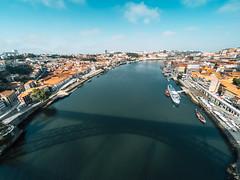 Douro (Alvaro RP) Tags: portuguese wine aerial river water flow boat city ciudad azul blue traveling bridge puente porto port citiescape over shadow shade summer landmark building