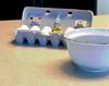 Breakfast time.  Oops. (dshoning) Tags: 52weeksof2018 eggs chick bowl breakfast