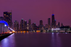 Chicago Skyline (Arvind Balaraman) Tags: chicago skyline city lake usa downtown building tower district sunset travel architecture cityscape urban skyscraper blue michigan sky illinois dusk reflection exterior contemporary illuminated waterfront destinations buildings midwest dawn view