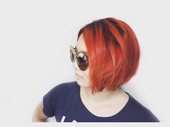 When embarking on world travels #orangehair is the best choice. Especially when worn in a #razorbob. #colorcutcollective (Lamharzi Love) Tags: instagramapp square squareformat iphoneography uploaded:by=instagram lark