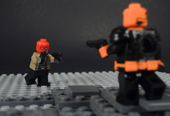 Outlaw vs Terminator (-Metarix-) Tags: lego super hero minifig minifigs red hood deathstroke slade wilson jason todd robin outlaw terminator battle showdown