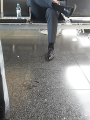 Airport Daddy - Businessman 02 (TBTAOTW2011) Tags: hidden camera candid photo business man businessman sitting crossed legs mature old daddy belly glasses socks feet foot black leather dress shoe shoes