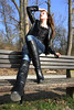 Tatjana 29 (The Booted Cat) Tags: sexy cute teen model girl tight blue jeans leather jacket boots overkneeboots heels highheels