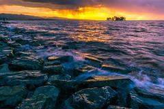 sunset 7320 (junjiaoyama) Tags: japan sunset sky light cloud weather landscape purple yellow contrast color lake island water nature winter wave storm rain