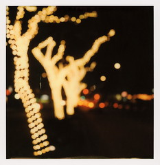 South Lake Bokeh 2 (tobysx70) Tags: polaroid originals color 600 instant film slr680 south lake bokeh avenue pasadena california ca night nocturnal lighttrails red green traffic fairy lights trees blurred out of focus vanishing point toby hancock photography