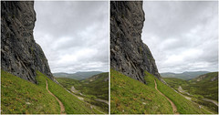 Bone Caves Valley 3D (Non Paratus) Tags: creagnanuamh assynt sutherland scotland uk clouds sky 3d stereophotography stereoscopic crosseye bonecaves