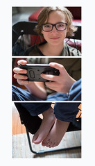 Owen_triptych_gaming (Carrie Scruggs) Tags: gaming cell phone teen triptych boy