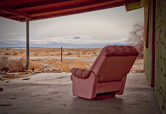 Forever is a slow dream (Maureen Bond) Tags: ca maureenbond desert mojave alone abandoned pinkchair clouds mountains grief porch view quiet