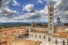 Cathedral of Siena (Jan Kranendonk) Tags: siena italy italian europe european city town building architecture historical landmark sunny sky travel toscane tuscany street church tower marble white cathedral piazza duomo townsquare plaza gothic cityscape roofs tiles view italia hdr