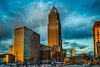 Golden Reflections (tquist24) Tags: cleveland hdr nikon nikond5300 ohio architecture bus car cars city clouds downtown evening geotagged goldenhour lights reflection reflections sky skyscraper street urban window windows unitedstates