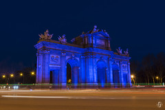 Puerta de Alcalá in blue light on the World Autism Awareness Day (nieves.valderrama) Tags: autism cityatnight citylights longexposure lowlight lowlightphotography madrid madridmemola night nightimages nightlights nightphotography nightscape nightscene nightshooters nightshot nofilter picoftheday puertadealcala spain streetlights themadridbible