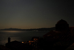 Monemvasia at night (jimiliop) Tags: night sky stars moon sea light dark shine church town silhouettes horizon monemvasia greece