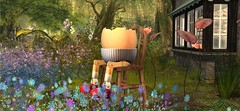 At Baja Norte - the ultimate gratuitous topless shot (lala_melody) Tags: humpty dumpty egg topless chair flowers secondlife