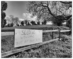 """""""Sleding Welcome"""" (dam design) Tags: sleding sledging sledding summer winter snow field village slope hill"""