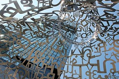silberblick (Fotoristin - blick.kontakt) Tags: architecture olescheeren mahanakon bangkok thailand tower skyscraper bangkokedition building jenga silver installation figure art lines curves sky light street silberblick fotoristin jaumeplensa bangkoksoul