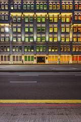 Colourful shutters (ArnabKGhosal) Tags: colourstreetphotography colour streetphotography red yellow shutters mica singapore sonyrx100 nightstreetphotography