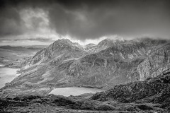 Tryfan and Ogwen valley from the descent of Y garn (gopper) Tags: snowdon snowdonia ngc nikon d7100 sigma 1020mm northwales welsh wales cymru cloudy moody bw ogwen llyn broody wet wild windy tryfan glyderau postcard gwynedd godscountry amazing fantastic scenery view hill hills mountain mountains ygarn lake lakes hillwalk hillwalking hiking high extreme