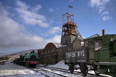 Big Pit (Roger.C) Tags: bigpit blaenavon torfaen valleys welshvalleys welsh coal mine mining museum train trains steam steamtrains snow winter snow2018 bluesky blending digitalblending wfc southwales industrial industry nikon d610 tamron 2470mm wales walesnikon
