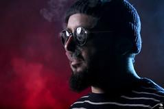 SMOKE (Kalimba.M) Tags: portrait gel gélatine lunettes glasses smoke fumée studio éclairage couleur color gelcolour autoportrait kalimba elinchrom canon 5dmark3 dlite