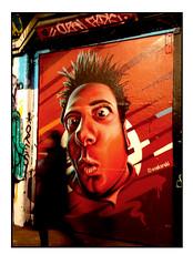STREET ART by WOSKERSKI (StockCarPete) Tags: woskerski dude male face visage streetart londonstreetart urbanart graffiti leakestreet leakestreettunnel man london uk waterloo spikey spikeyhair facialexperssion