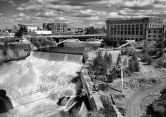 Spokane Falls, Spokane, WA (grburns09) Tags: spokane white black monochrome falls river