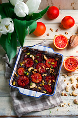 salty blood orange brownies with nuts and thyme (Zoryanchik) Tags: blood orange salty brownies nuts thyme food sweet background rustic delicious snack baked homemade dessert english