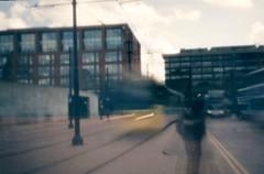 Manchester (664) (benmet47) Tags: tram transport urban metrolink bombardier m5000 bombardierm5000 film lomo lomography holga holga135pc lomographyholga135pc pinhole street city expiredfilm