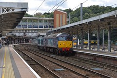 DRS pair 57002 and 68034 passing through Ipswich, enroute to Norwich from Willesden. 68034 is booked to work a railtour on Saturday.  13 09 2017 (pnb511) Tags: electric overhead cable ohc catenary traction loco locomotive diesel trains railway ipswich greateasternmainline geml class57 class68 drs track station platform canopy footbridge class66 class170 turbostar