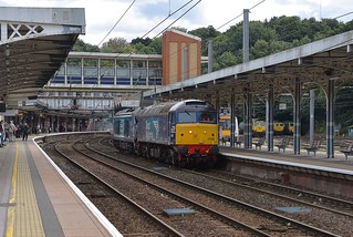 DRS pair 57002 and 68034 passing through Ipswich, enroute to Norwich from Willesden. 68034 is booked to work a railtour on Saturday.  13 09 2017