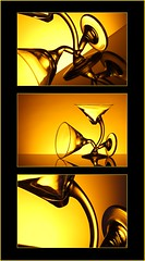 Triptych (Karen_Chappell) Tags: glass orange yellow glasses three 3 black stilllife abstract