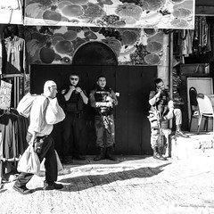 The people (Monica@Boston) Tags: culture shadow shops weapon phonetalk oldjerusalem city jerusalem street soldier monochrome blackandwhite people