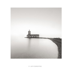 Church of Infinity (les forrester) Tags: landscape fineart square church lake fog rain blackandwhite monochrome scape toned fujifilm fujiuk