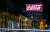 the coca-cola company (pbo31) Tags: bayarea nikon d810 color night dark black march 2018 winter boury pbo21 sanfrancisco city urban lightstream traffic roadway motion soma bryantstreet billboard cocacola red ad warehouse industrial