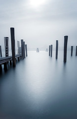 untitled (ChrisRSouthland) Tags: longexposure venice water mooring poles colour blue sky nikond800 zeissdistagon21mmf28 fog contraluz minimal minimalism jetty lagoon reflection quiet calm dream light